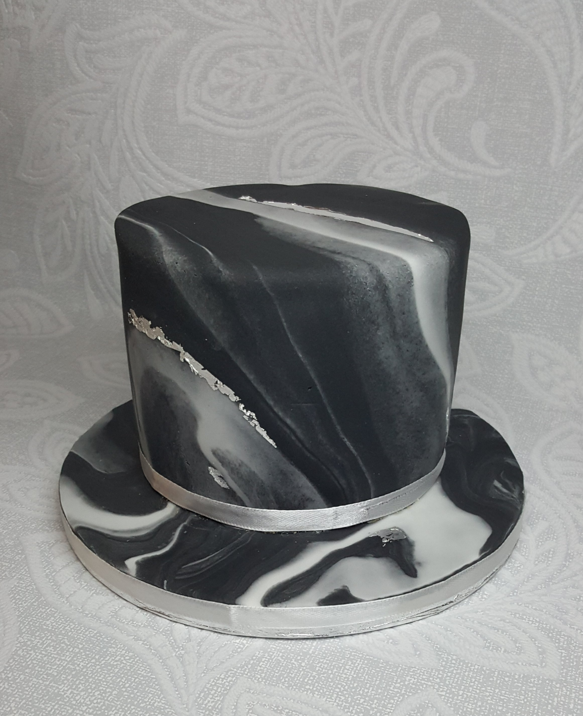 Black And Silver Marble Cake Little Peach Cakery