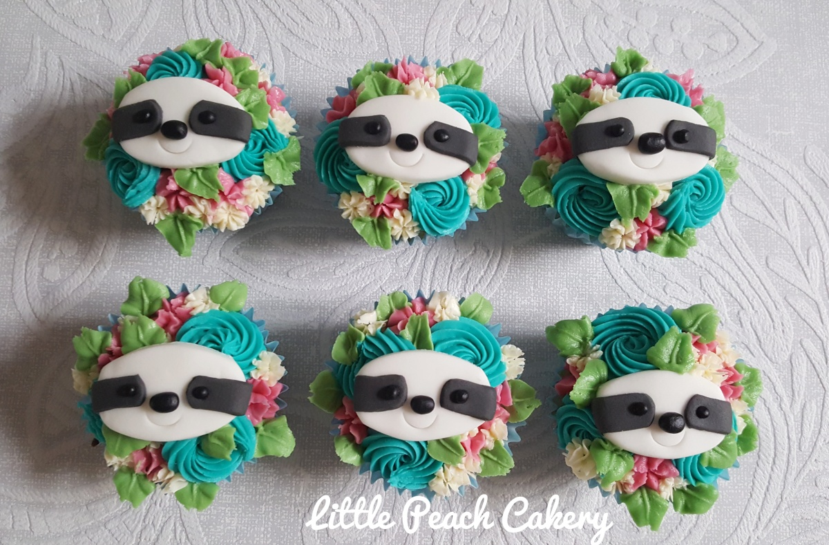 Floral Sloth Cupcakes